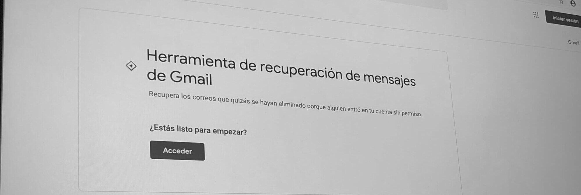 Pantalla de inicio de la herramienta de Gmail para recuperar correos eliminados