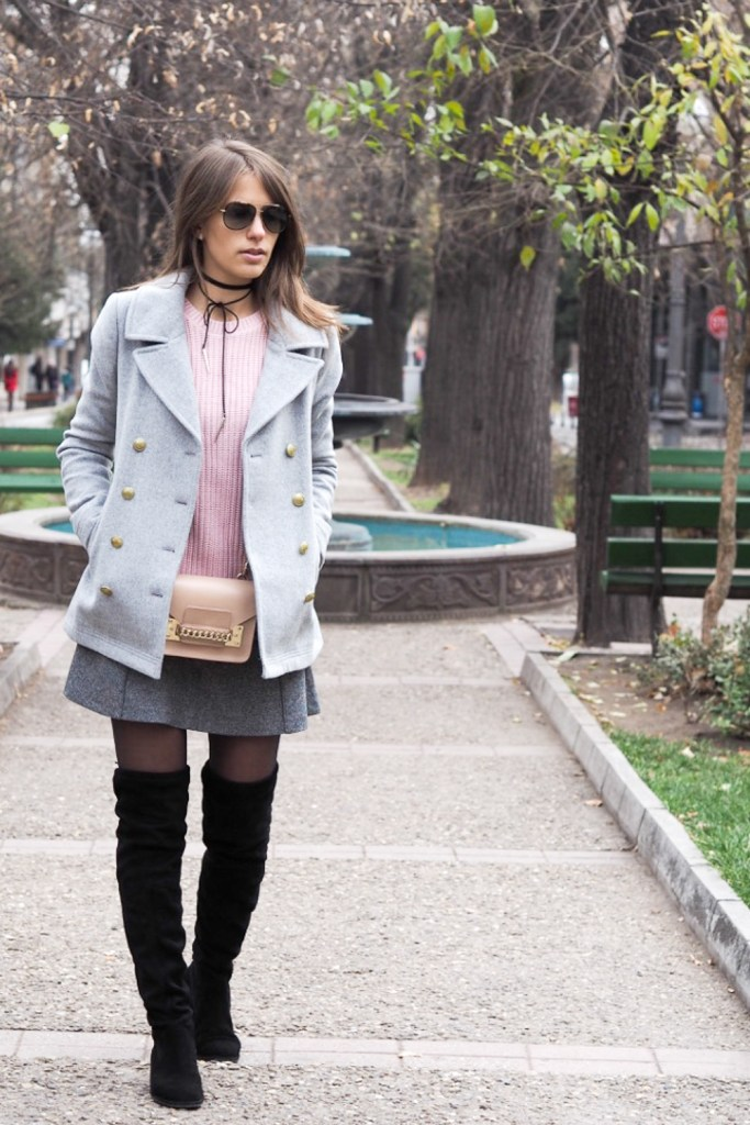 winter look over the knee boots skirt