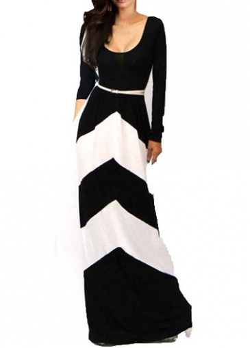Comfy Round Neck Black and White Maxi Dress