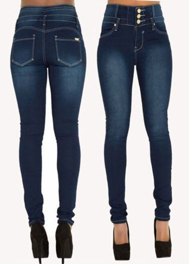 Button Design High Waist Zipper Closure Jeans
