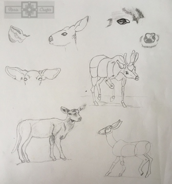 Rosie Crafts Deer Instructional Drawing