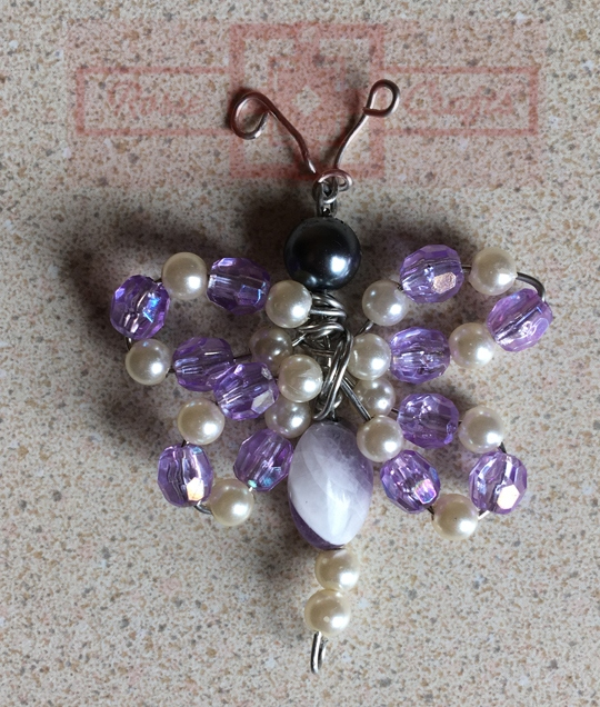 Rosie Crafts Wire Beaded Purple Dragonfly