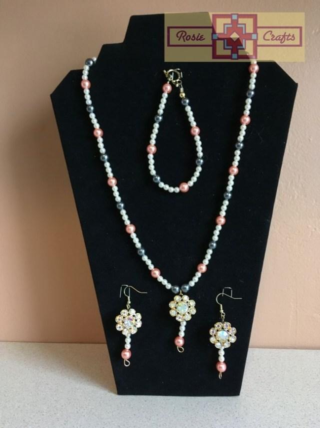 Rosie Crafts Artisan Vintage Flower Jewelry Set