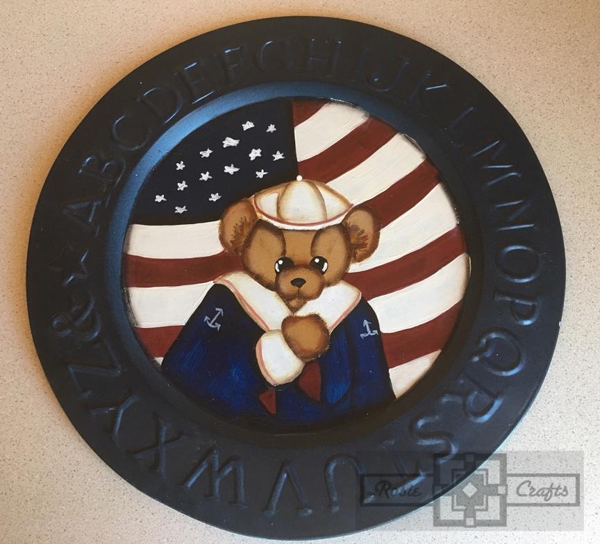 Rosie Crafts Painted U.S. Patriotic Plate