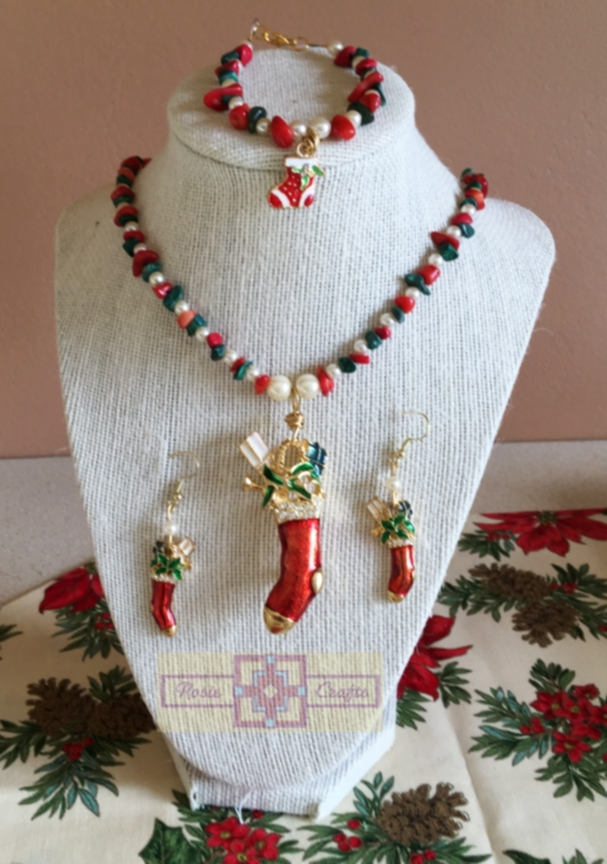 Rosie Crafts Vintage Candy Cane Jewelry Set