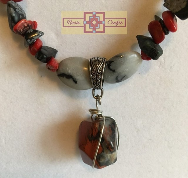 Artisan Tribes Black/Red Pendant Necklace