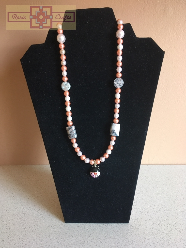 Rosie Crafts Ladybug Pearl Necklace