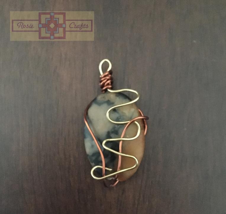 Rosie Crafts Brown Stone Wire Pendant
