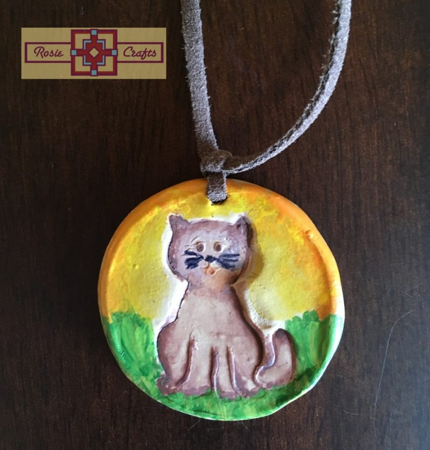 Rosie Crafts Polymer Clay Cat Pendant