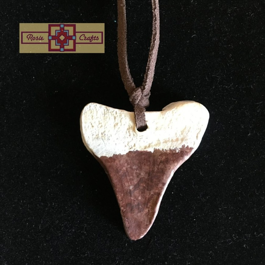 Artisan Tribes Polymer Clay Brown/White Shark Teeth Pendant