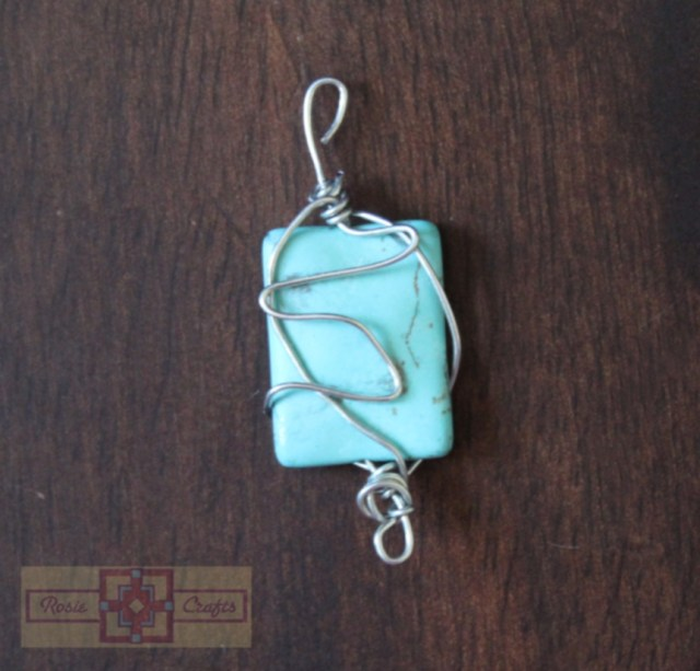 Artisan Tribes Square Turquoise Wire Wrapped Pendant