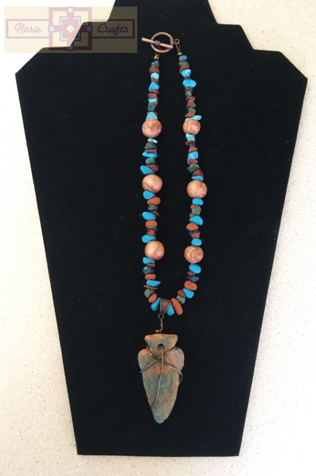 Artisan Tribes Polymer Clay Turquoise/Terracotta Arrowhead Necklace