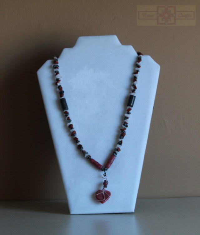 Rosie Crafts Polymer Clay Red Heart Necklace