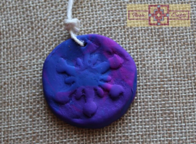 Rosie Crafts Polymer Clay Snowflake Jewelry Pendant