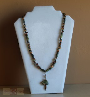 Artisan Tribes Unakite Zuni Bear Necklace