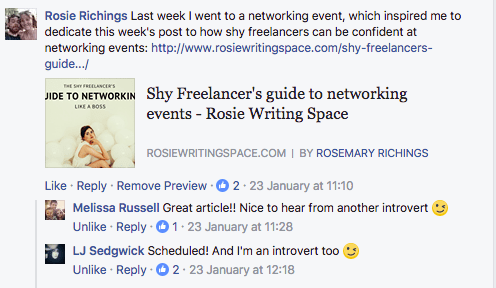 screenshot of reader engagement