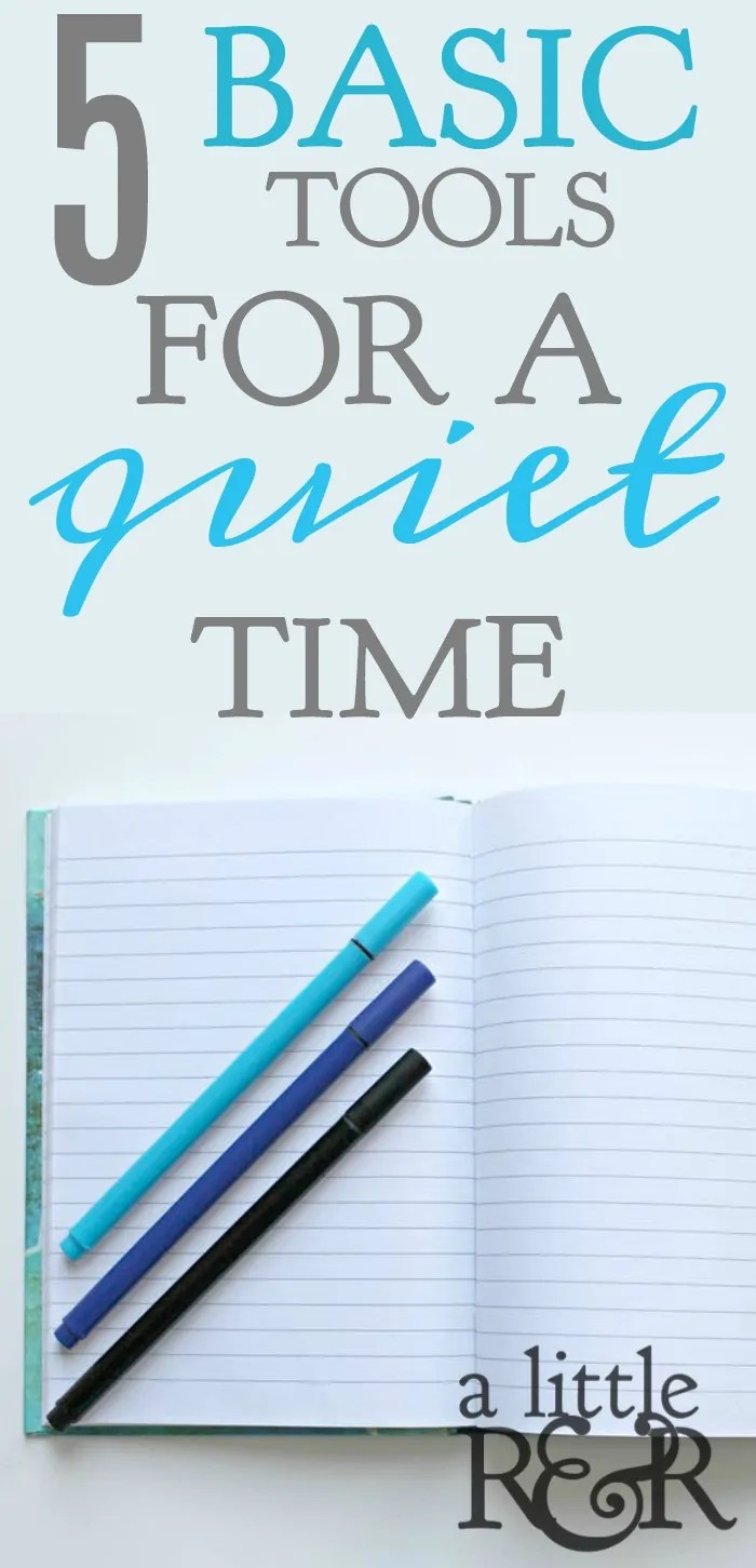 It is easy to get bogged down by all of the tools available to have a quiet time. The internet is filled with journals and printables and it can be overwhelming. Here are just 5 basic tools and a free printable that to keep your quiet time simple. #prayer #warroom #warrior #Bible #God #Jesus #momlife #mom #quiettime #SOAK #biblejournaling #biblestudy