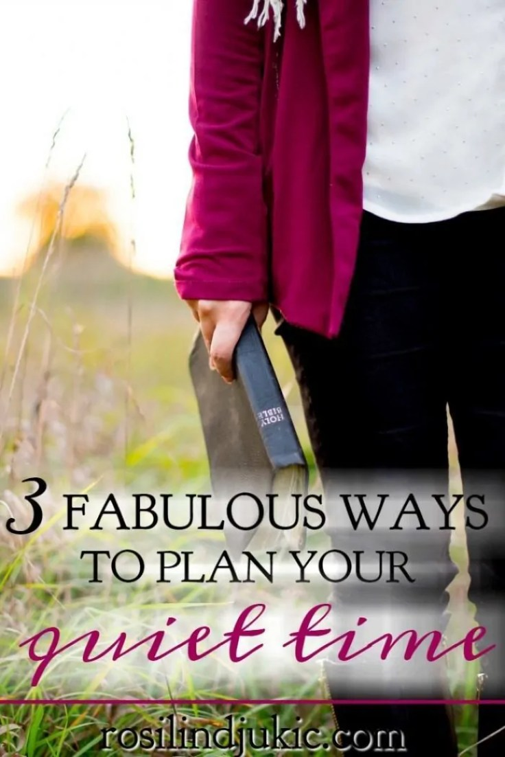 3 Fabulous Ways to Plan Your Time Quiet Time lady in purple jacket holding a Bible