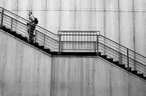 Man climbing steps