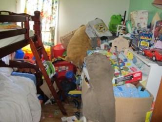 Cluttered bedroom