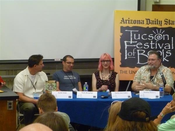 L-R: Austin Aslan, Paolo Bacigalupi, Charlie Jane Anders, Jonathan Maberry