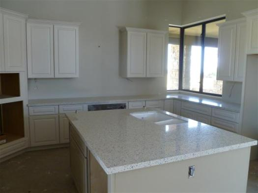 Kitchen counters, wide view
