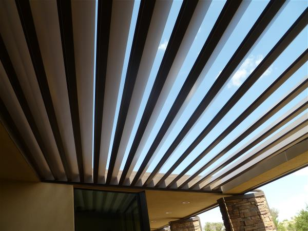 South patio roof slats installed