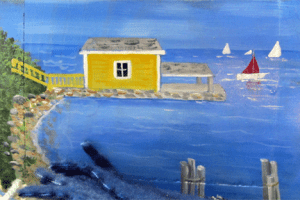 Rosslyn's boathouse adorning a wooden box (Artwork by Mary Wade)