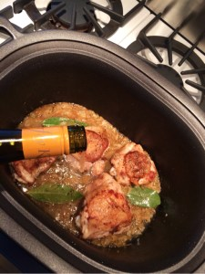 Add a couple cups of dry white wine. The alcohol will cook off but the wine will tenderize the chicken and flavor the marinade.