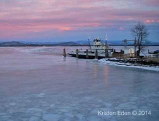 Essex-Charlotte ferry dock during late February sunset (Credit: Kristen Eden)