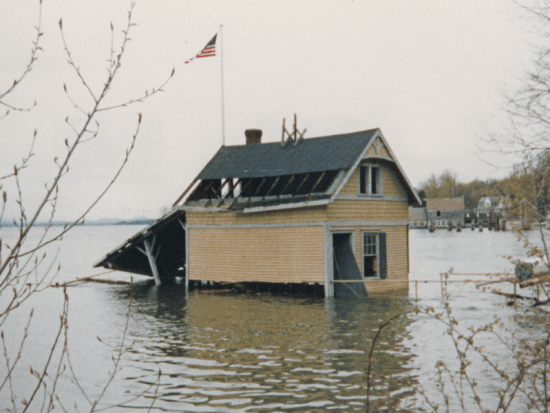 Rosslyn's boathouse was flooded and severely damaged in 1983. (Source: Dianne Lansing)