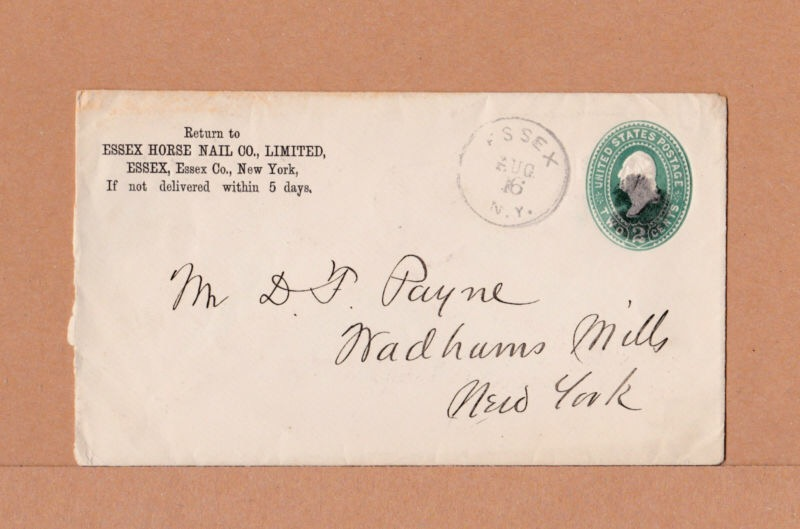 Envelope from Essex Horse Nail Co., Limited in Essex, New York, circa 1898.