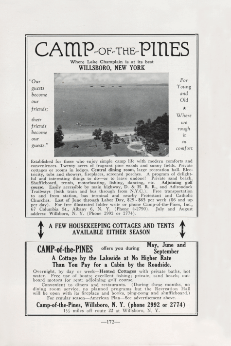 Camp-of-the-Pines advertisement from 1949 Adirondack Guide. (Source: Adirondack Guide via David Brayden)