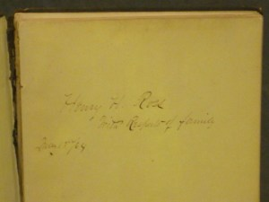 Inscription in Henry H. Ross memorial book: In Memory of Gen. Henry H. Ross, who dies at Essex, Essex County, N.Y. on the 13th day of Sept., 1862 (Source: eBay.com)
