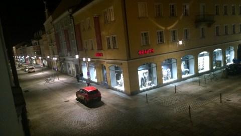 Blick vom Alten Rathaus auf das Eck Bahnhofsstraße/Luitpoldplatz