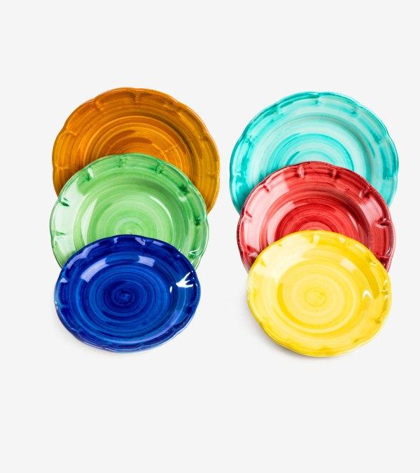 RARDTV08 servizio piatti ceramica vietri decorato giallo rosso blu verde avossa rossoaltramonto