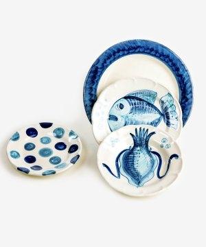RARDTV10 servizio piatti ceramica vietri decorato marino blu avossa rossoaltramonto