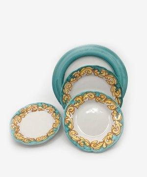 RARDTV12 set piatti barocco vietrese ceramica vietri verde avossa rossoaltramonto