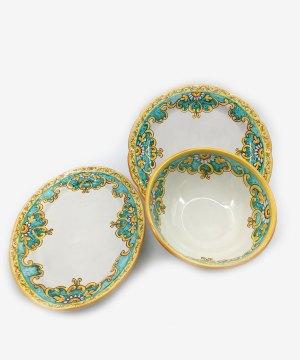 RARDTV37 piatti portata ceramica vietri set verde avossa rossoaltramonto