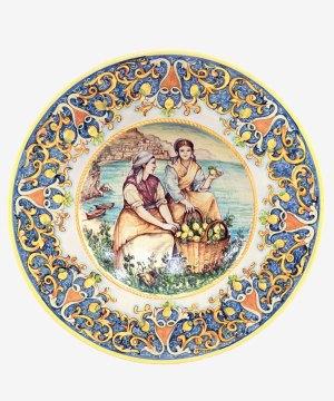 RARTS001 piatto decorato mano ceramica vietri avossa rossoaltramonto