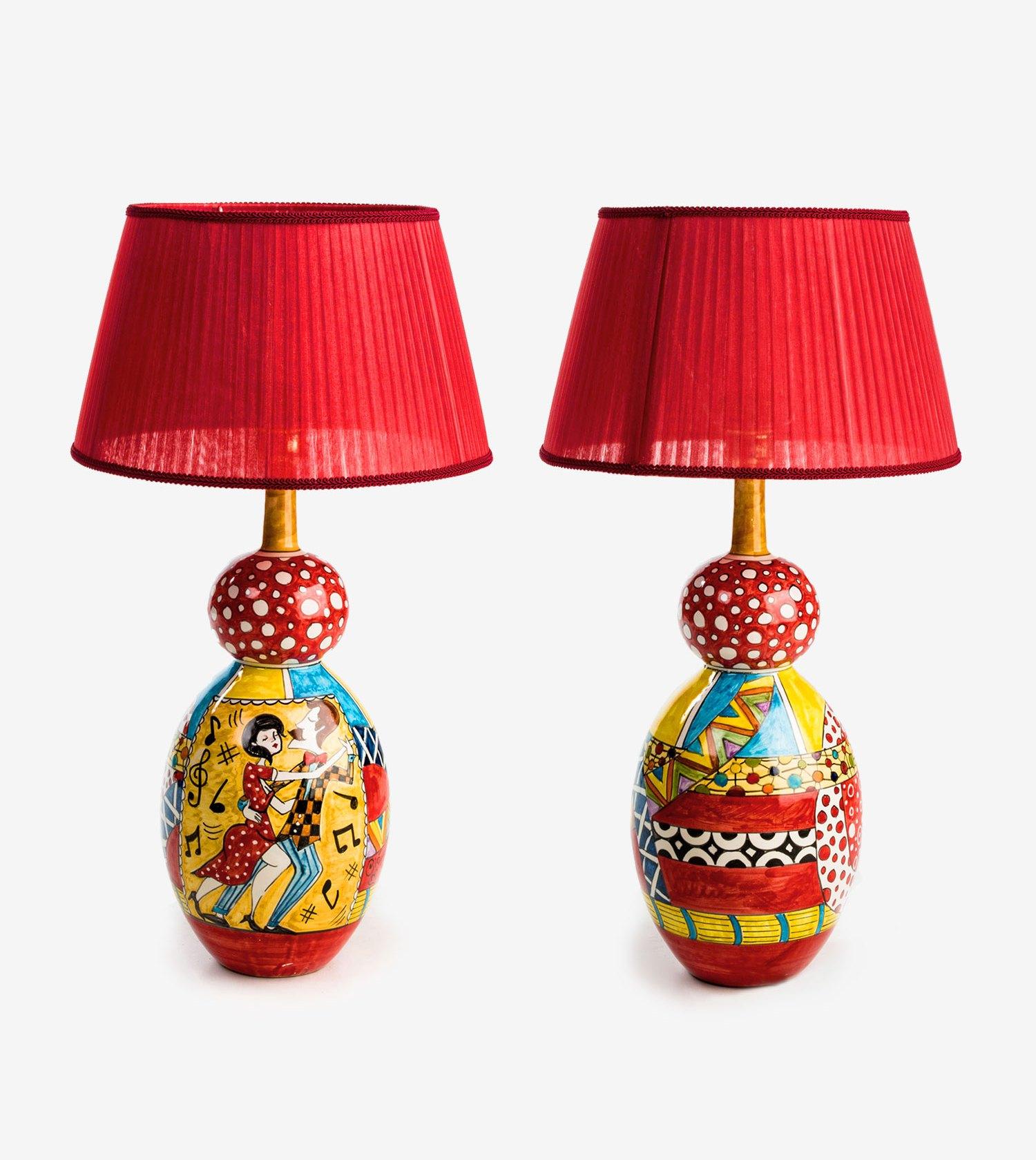 Lampade In Ceramica Di Vietri.Ceramiche Vietri Avossa Lampada Ballo Appassionato