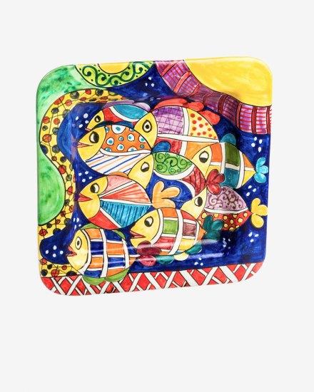 RGIO025 piatto ceramica vietri quadrato alta marea avossa rossoaltramonto