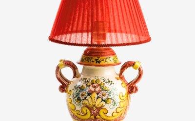 RLAMP003 lampada ceramica vietri festone neoclassico avossa rossoaltramonto