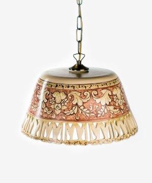 RLAMP008 lampadario ceramica vietri traforato merletto romantico avossa rossoaltramonto