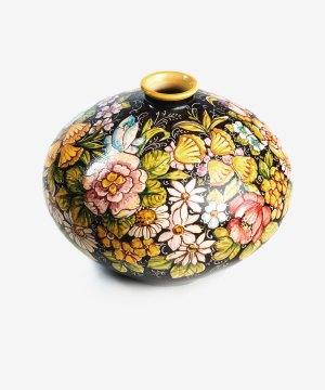 RVSORN006 vaso sfera ceramica vietri nero avossa rossoaltramonto
