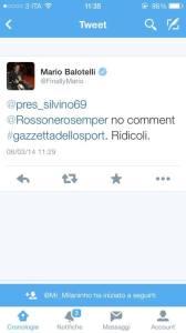 Mario Balotelli ci dice la sua sui giornalisti gazzetta (Tweet poi cancellato)