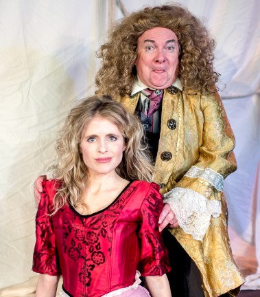 L-R - Amber Collins Crane as Moll Flanders, Stephen Dietz as Banker