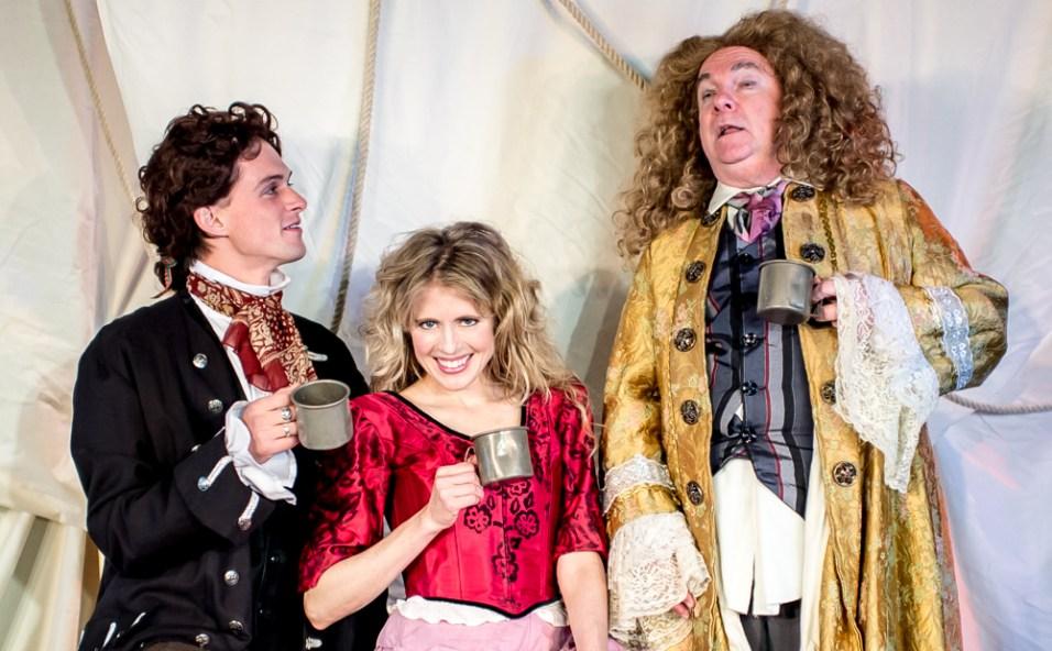 L-R - Jack Clendenen as Christopher, Amber Collins Crane as Moll Flanders, Stephen Dietz as Banker