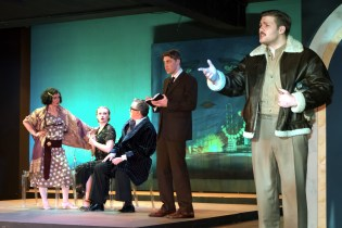 L to R Emily Dwyer as Zelda Fitzgerald, Marissa Ellison as Xandra Kallman, Ron Talbot as Kallie Kallman, Frankie Stornaiuolo as Scott Fitzgerald, Izaak Heath as Edouard Jozan