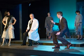L to R Emily Dwyer as Zelda Fitzgerald, Ron Talbot at Dr. Rennie, Marissa Ellison as Patient, Frankie Stornaiuolo as Scott Fitzgerald, Jannely Calmell as Patient